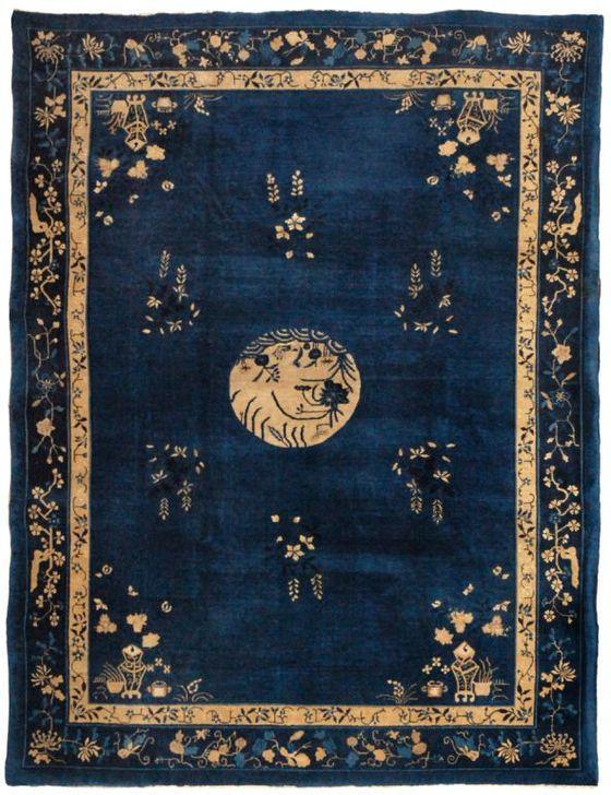 Chinese Rug. Deep blue wool silk rug