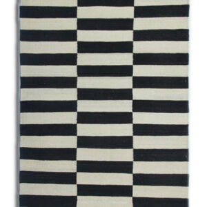 Black and Cream Checkerboard Kilim Runner Rug